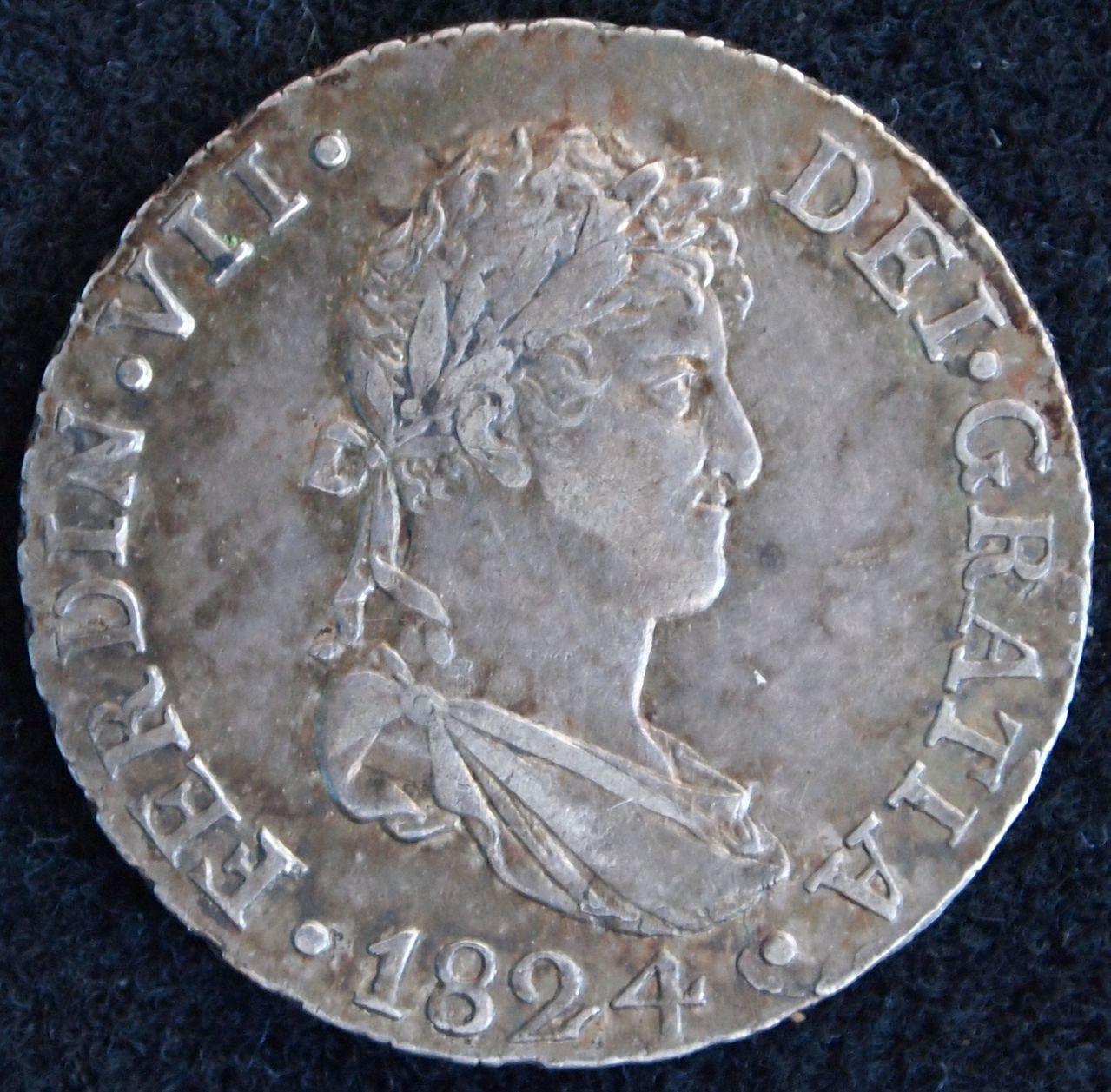 2 reales fernando VII 1824 sevilla 1