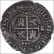 8 reales 1657 Felipe IV Potosí (Bolivia)  Image
