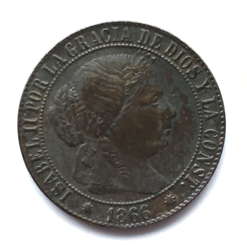 1 céntimo de escudo 1866. Isabel II. Barcelona. Sin O.M. IMG_9228