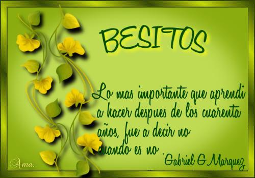 Hojas con Frase BESITOS