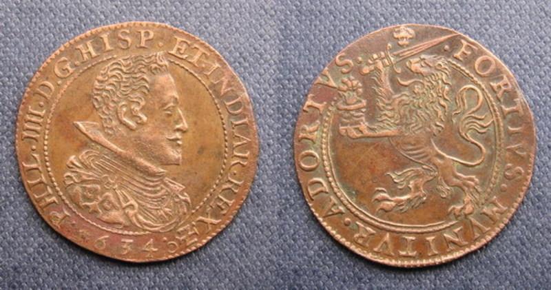 Jetón de Felipe IV. Bruselas. 1634. Francisco de Moncada levanta el Sitio de Breda. Jeton_Felipe_IV_1634_Franciso_de_Moncada_Conde
