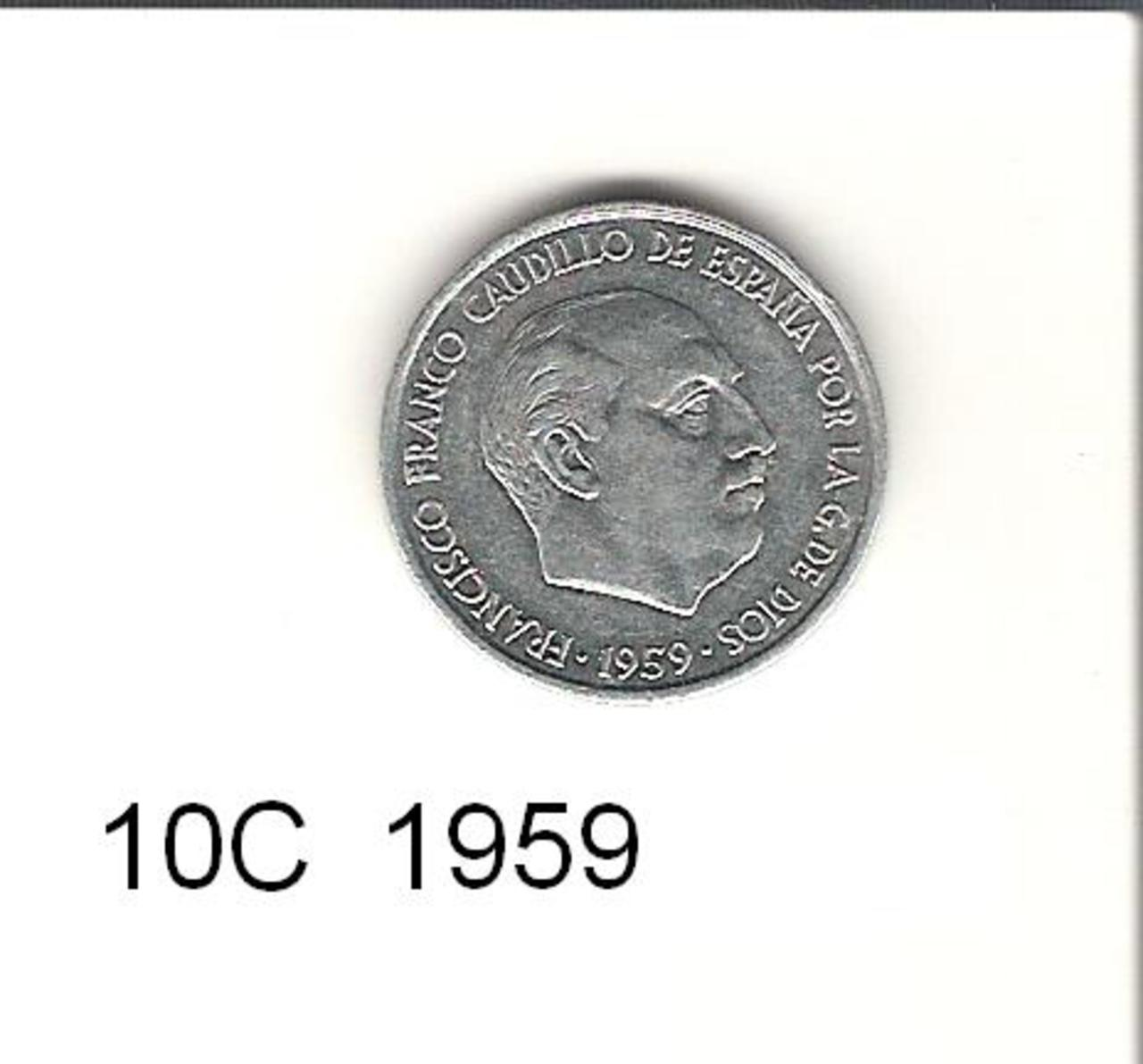 10 Céntimos 1959. Francisco Franco. Estado Español.   10_C_1959