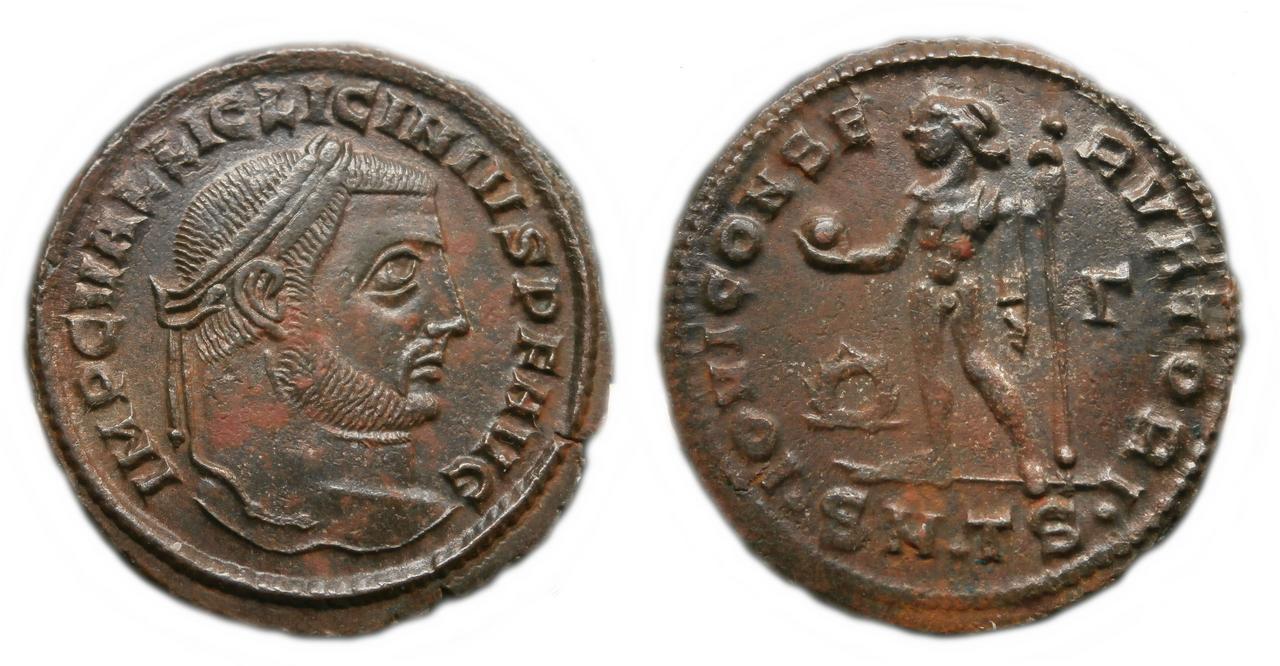 Nummus de Licinio I. IOVI CON-SERVATORI. Júpiter estante a izq. Siscia. Licini