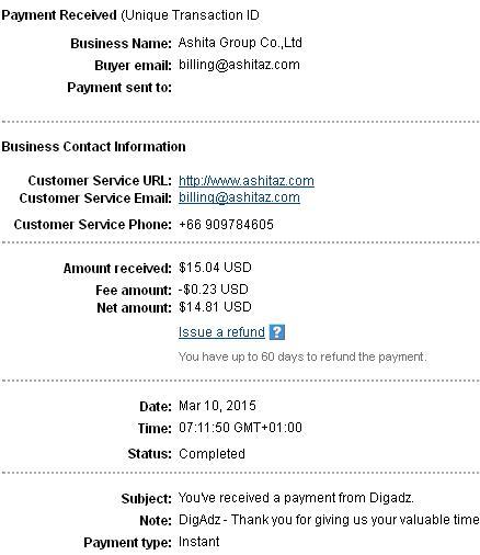 3º Pago de DigAdz ( $15,04 ) Digadzpayment