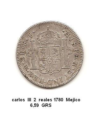 2 reales de Carlos III año 1780 Image