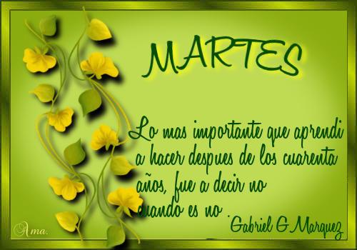 Hojas con Frase MARTES