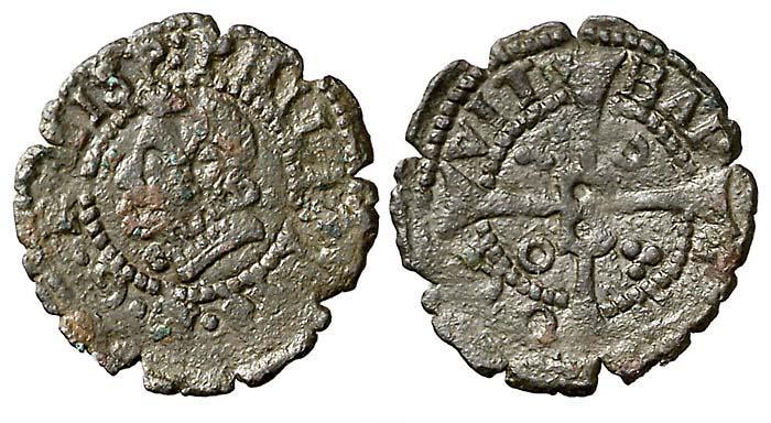 Dinero (menut) de Felipe III (c.1600) de Barcelona 1147ga