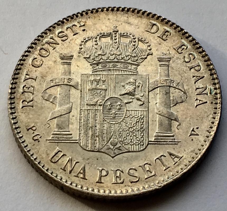 1 peseta 1896. Alfonso XIII. Keko dedit 70994_E6_C-7_F51-4610-9_FCF-_A520_CD11_F870