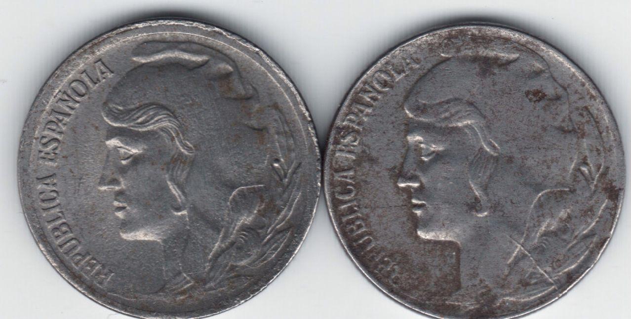 "5 Centimos 1937 República Española - variantes "" Cabeza pequeña, cabeza grande "" Image"