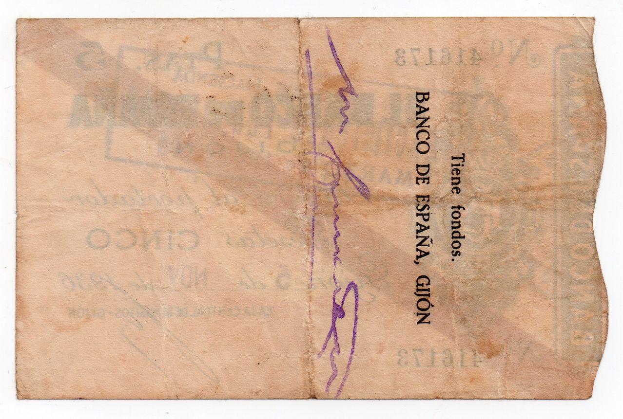 5 Pesetas 5 Noviembre 1936, Banco de España (Gijón)  Img041