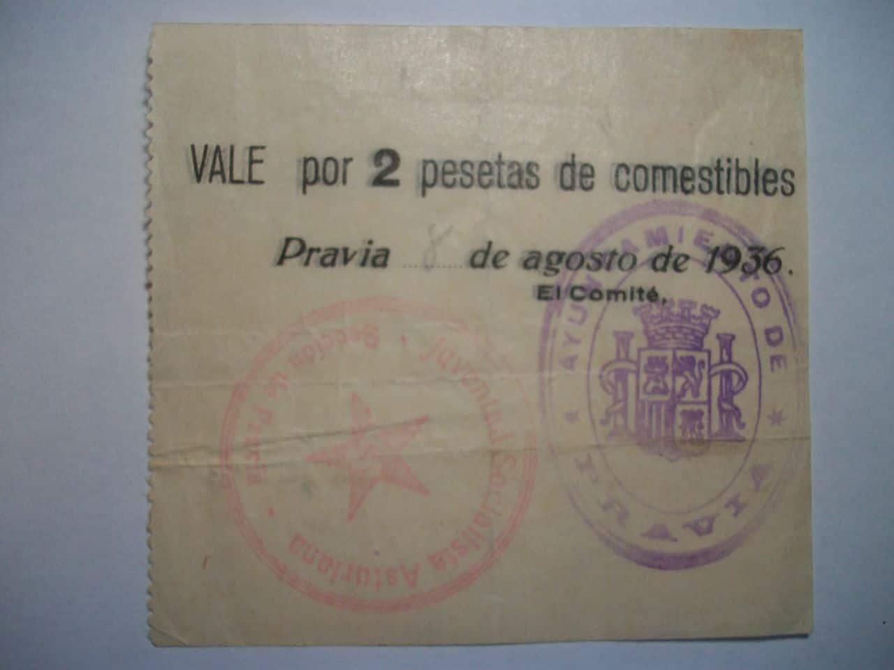 Vale de 2 Ptas. Comité de guerra de Pravia(Asturias). Agosto de 1936 100_1818