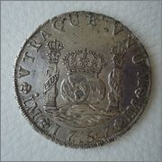 8 Reales 1757 Fernando VI Lima (tipo Columnario) Image