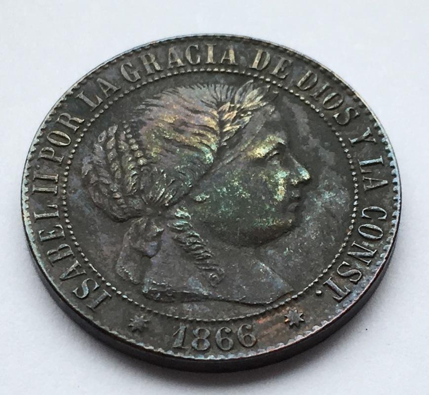 1 céntimo de escudo 1866. Isabel II. Barcelona. Sin O.M. IMG_9225