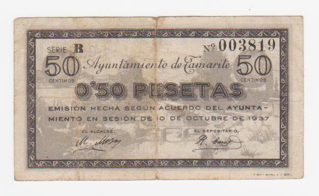 50 Céntimos Tamarite de Litera, 1937 Tamarite_50_centimos_1937