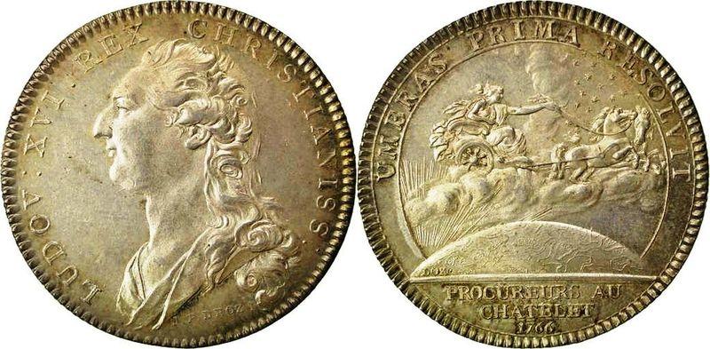 Jetón de Luis XVI de Francia. 1766. Procuradores del Châtelet de París. 57_2