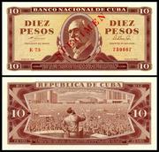 CUBA - 1, 5, 10 y 20 Pesos 1964 Cuba_96s_10_Pesos_1964