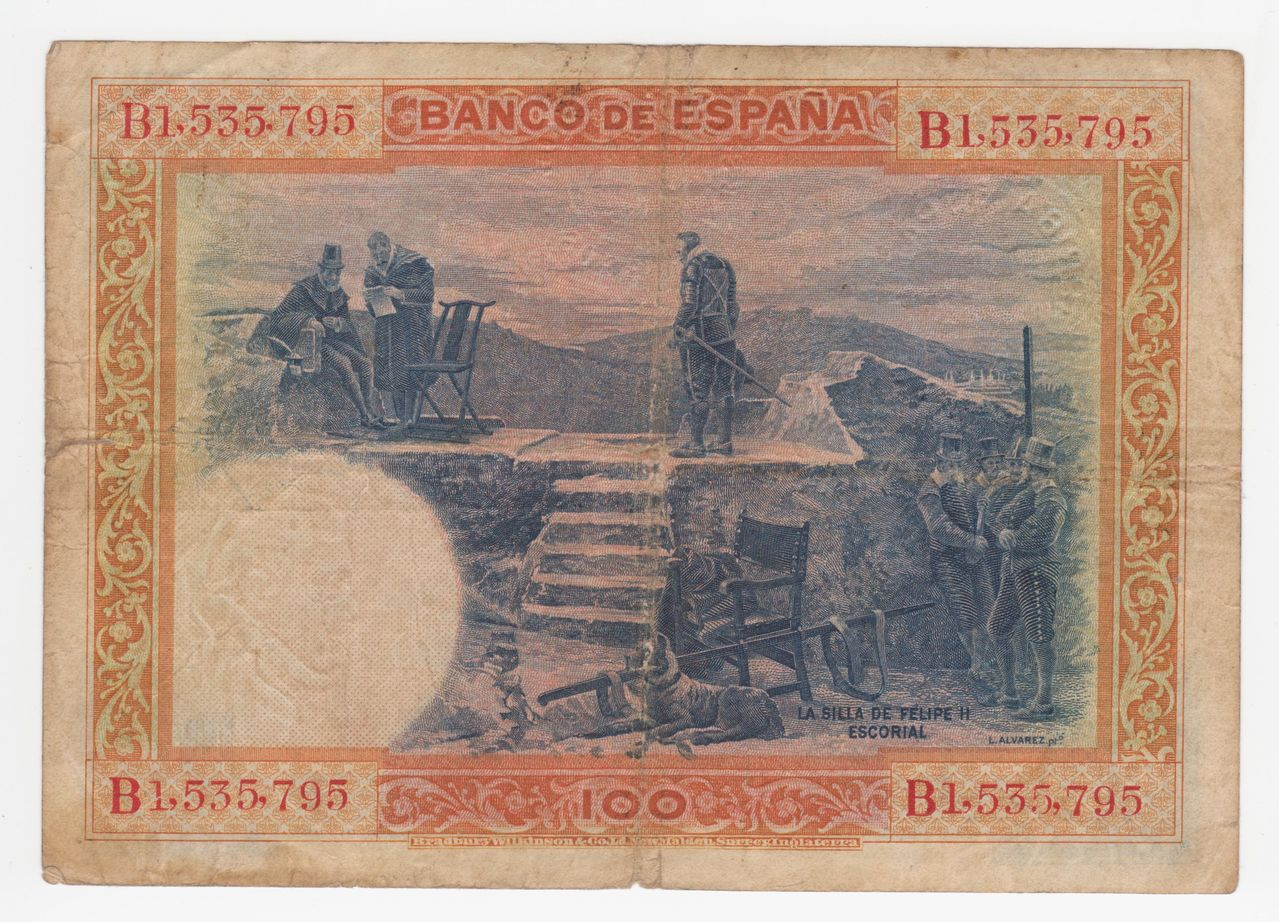 100 Pesetas 1925 (Tres sellos secos:Arriba España, Burgos y República) 100_pesetas_1925_tres_sellos_seco_001