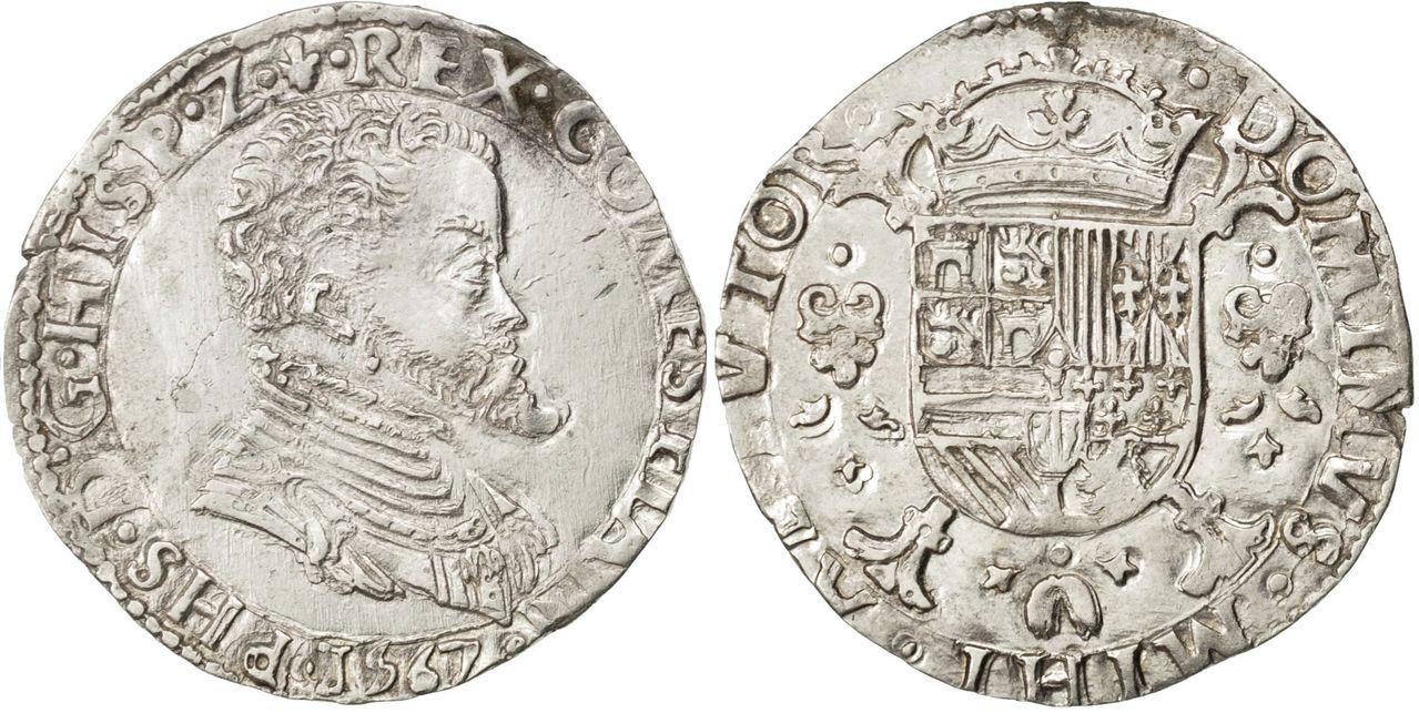 1/5 tálero 1567. Felipe II. Brujas (Flandes) 27020_belgique_brabant_philippe_ecu_1567_bruges