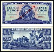 CUBA - 1, 5, 10 y 20 Pesos 1964 Cuba_97s_20_Pesos_1964