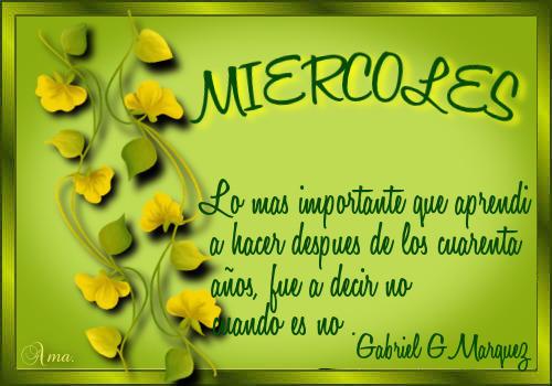 Hojas con Frase MIERCOLES