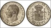 50 céntimos 1880 Alfonso XII 50cent