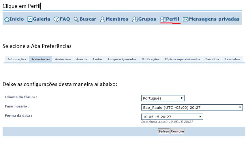O horário indicado no Forum Contrabaixo BR Config_Horario