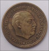 1 PESETA 1947 (*19-56) ESTADO ESPAÑOL Image