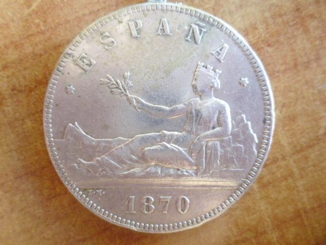 I aniversario numismario: 5 pesetas 1870 Gobierno Provisional P1100936