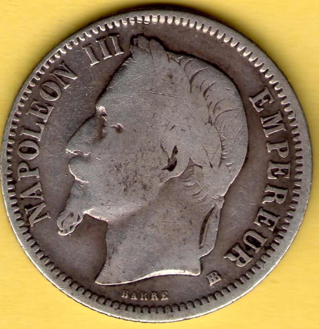 1 Franco. Napoleón III. Francia. 1868. Anv_Napole_n