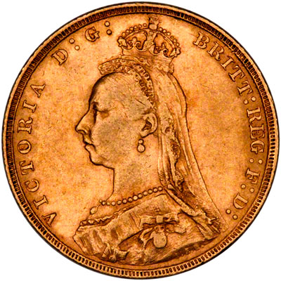 Soberano de la reina Victoria, Reino Unido. 1892  1892lsovereignobv400