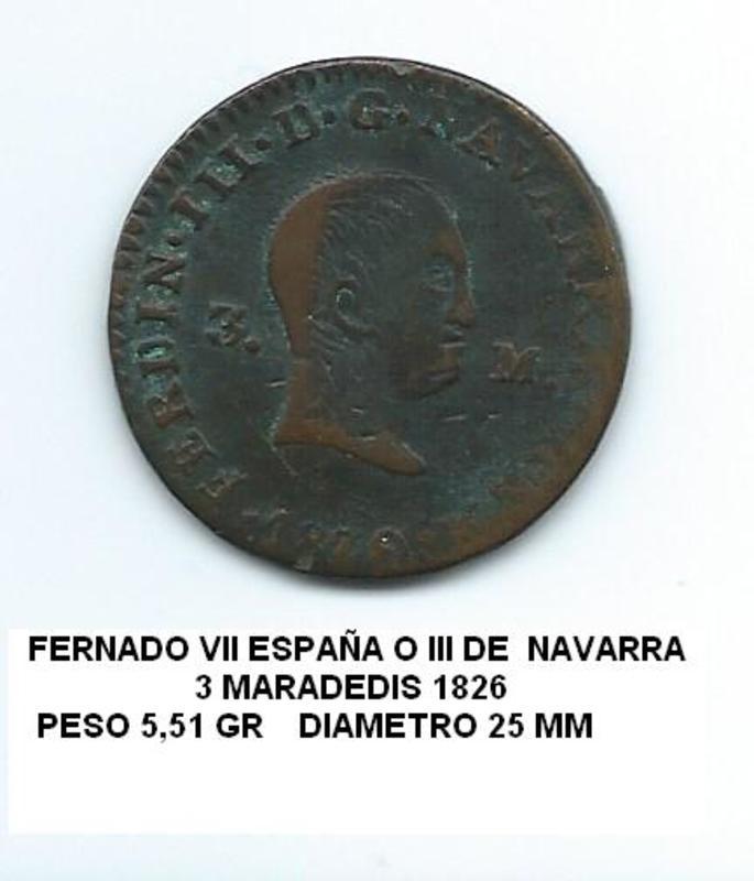 3 maravedís 1826 Fernando VII y  III de Navarra  3_maravedis