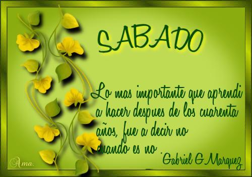 Hojas con Frase SABADO