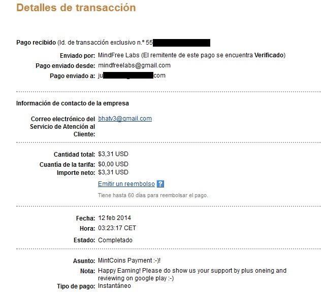 Gana con MintCoins con tu Android ( minimo 1$ ) 2º pago 2_cobro_Mintcoins