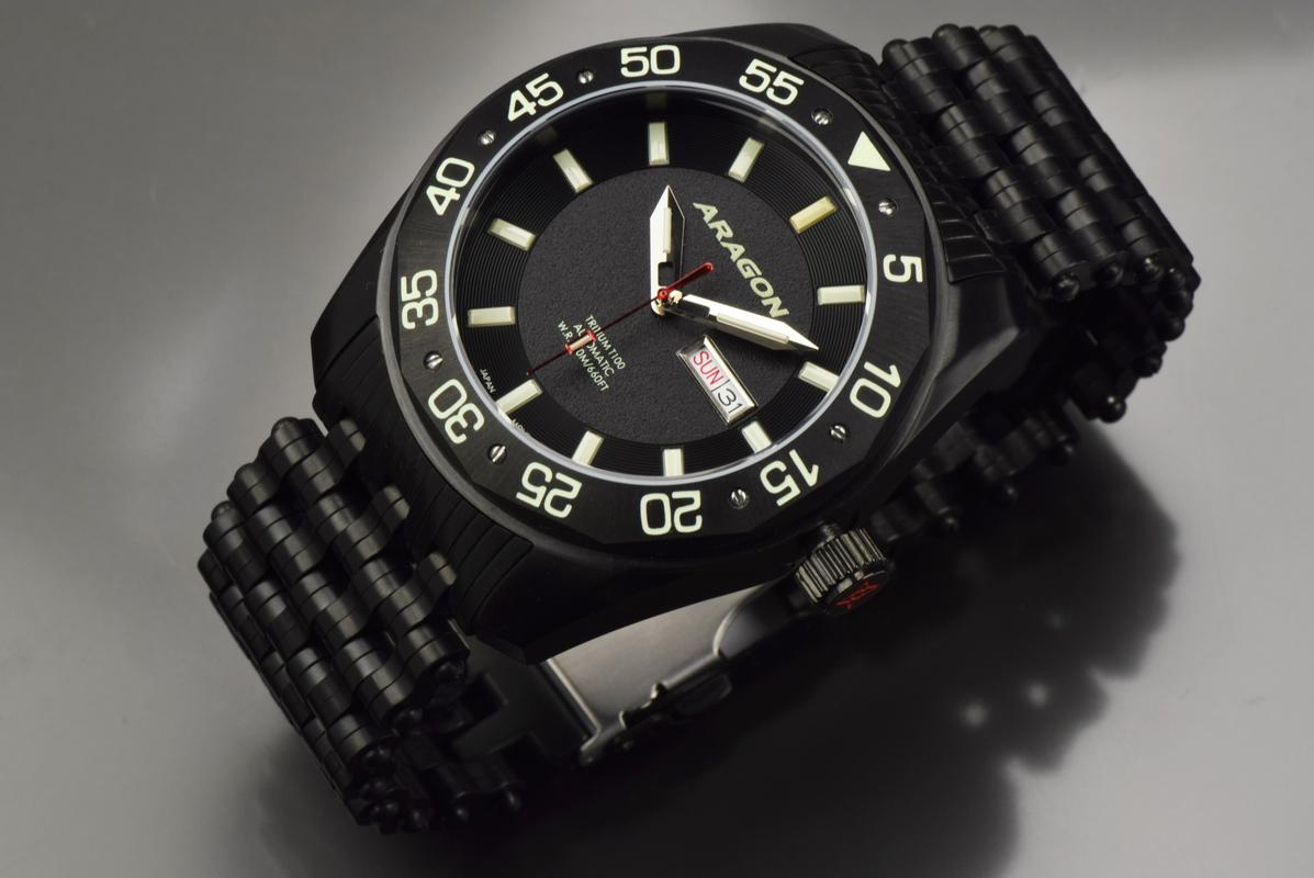 Aragon Charger Flat Tritium Tube Automatic A147_BLK-2