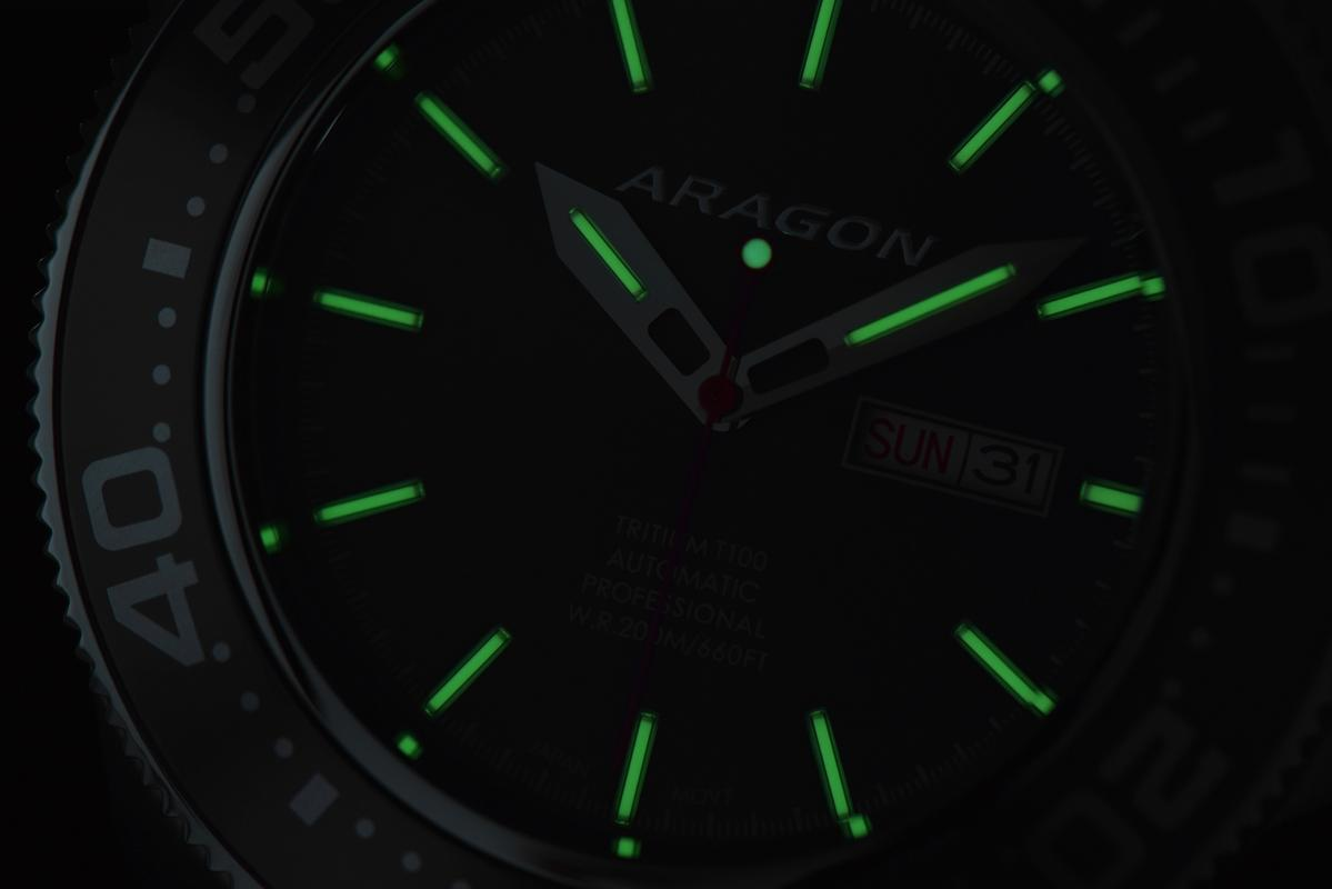 If you like tritium, here is the 45mm Aragon Divemaster Automatic A056_BLK-3