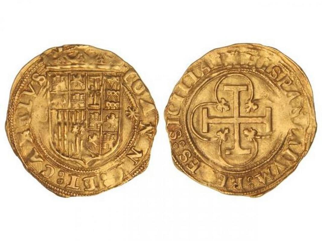 Escudo de Juana y Carlos - Ceca de Sevilla - Estrella 8 puntas - Duda Escudo_Sevilla_1535_-1556_Estrella_8_Puntas