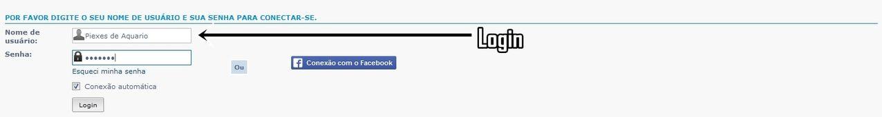 Login de acesso + Nome de usuário Conectar