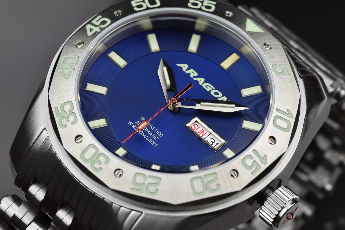 Aragon Charger Flat Tritium Tube Automatic A147_BLU-2