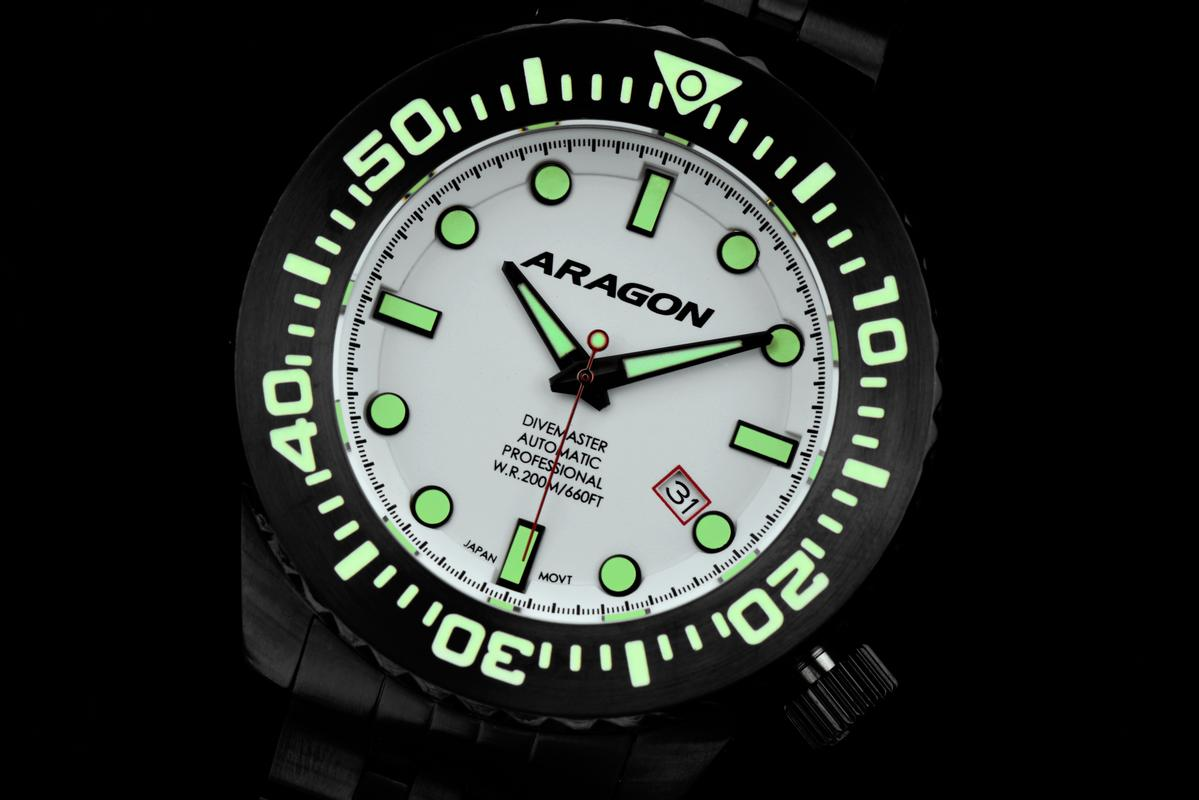 Aragon Divemaster EVO Automatic in 45mm IP black. A253_WHT-6