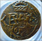 4 Maravedis del tipo OMNIVM del Real Ingenio de Segovia (1597-1602) resellados a XII mrvs. 1641-2 de Sevilla, 8 mrvs. de 1651-2 y reacuñación del anagrama a IIII mrvs. de 1658-9. P1120086
