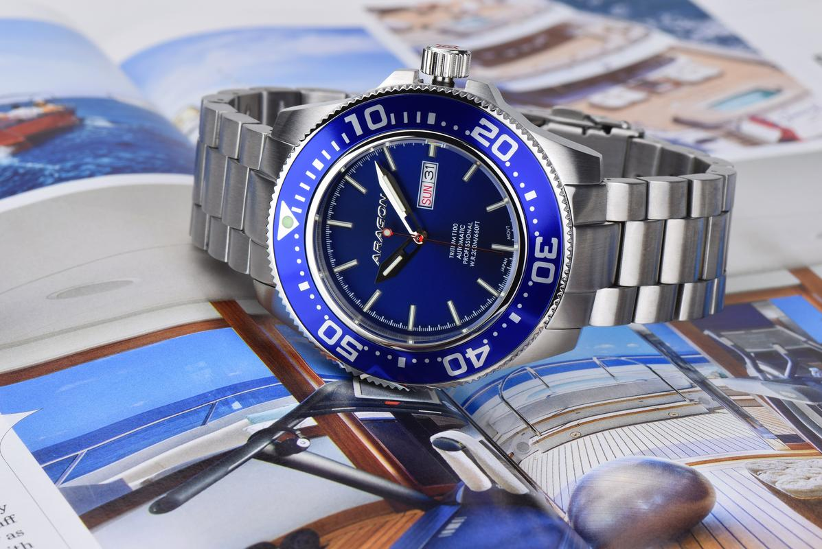 If you like tritium, here is the 45mm Aragon Divemaster Automatic A056_BLU-2