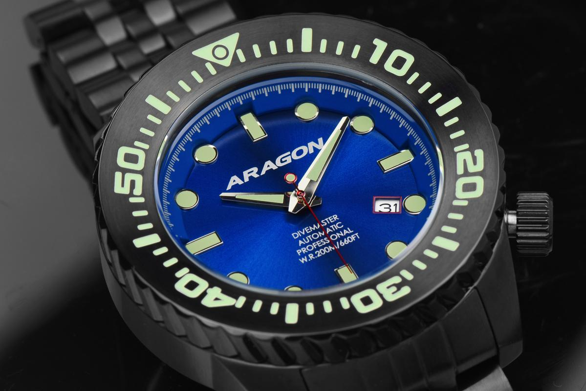 Aragon Divemaster EVO Automatic in 45mm IP black. A253_BLU-2