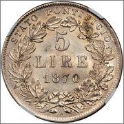 5 LIRE 1870 ESTADO PONTIFICO PIO IX Image