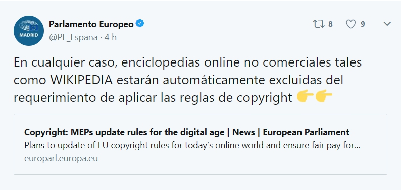 El Parlamento Europeo rechaza la directiva europea de copyright con un margen de 40 votos en contra Screenshot_2018_07_04_at_20_42_14