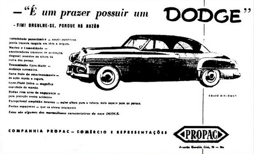 Anúncios no Rio de 1951 Jeep / Dodge / VW / Austin Vera