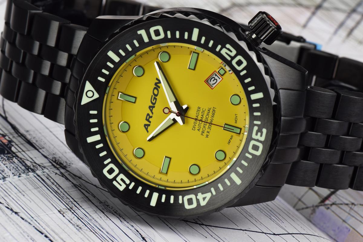 45mm + IP black + yellow dial + Divemaster = EVO. A253_YEL-3
