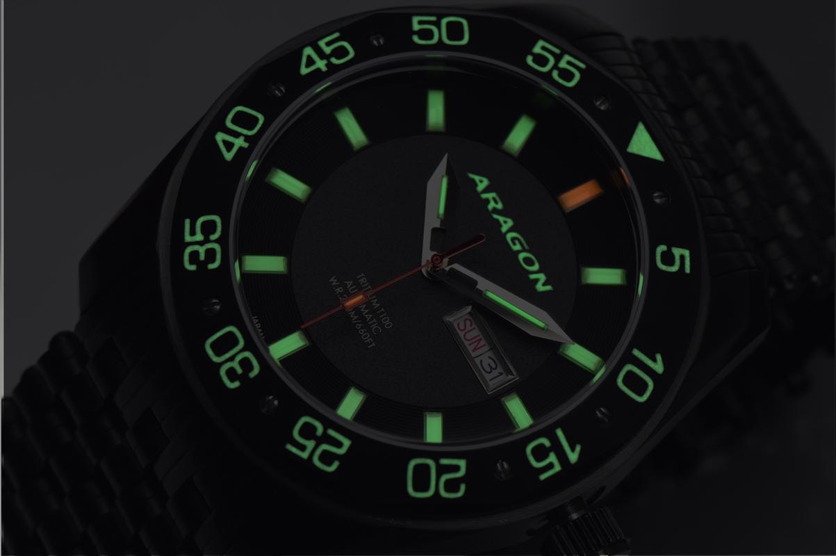 Aragon Charger Flat Tritium Tube Automatic A147_BLK-7