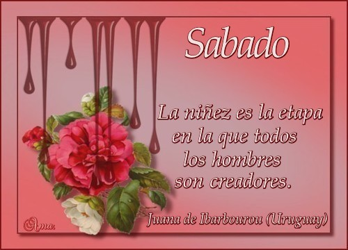 Caen Gotas Sobre las Flores con Frase  Sabado