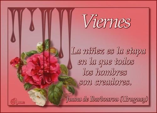 Caen Gotas Sobre las Flores con Frase  Viernes