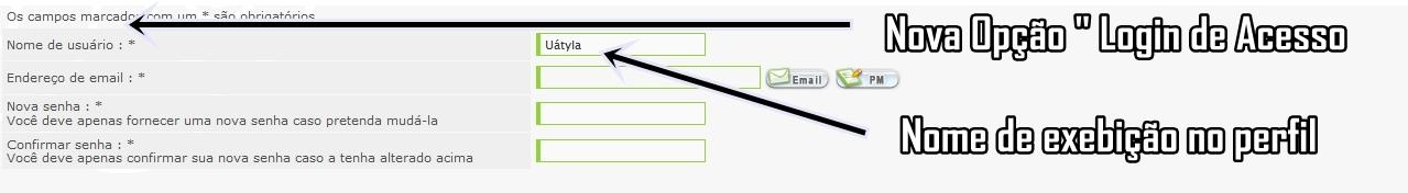 Login de acesso + Nome de usuário Painel